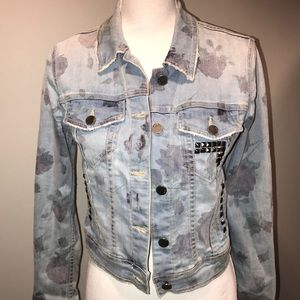 Free People Custom Studded Denim Floral Jacket